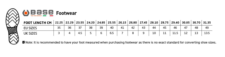 Base Footwear size guide