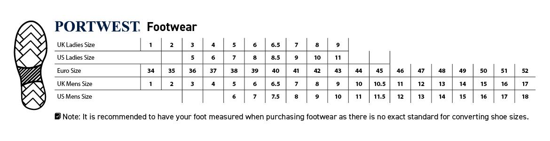 Footwear size guide
